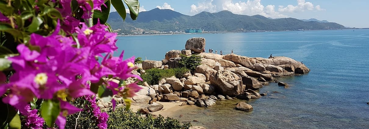 Nha Trang beach with rocks