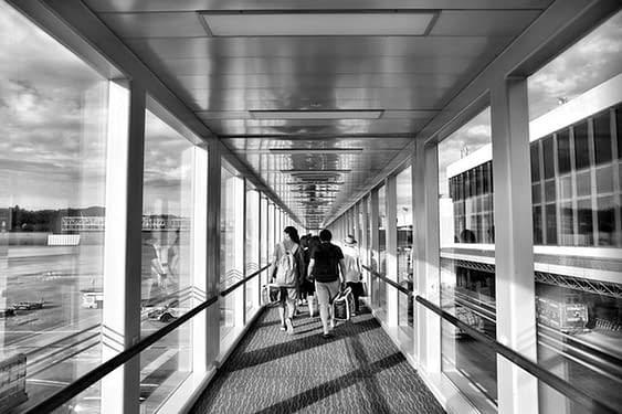 Passenger arrive at the terminal